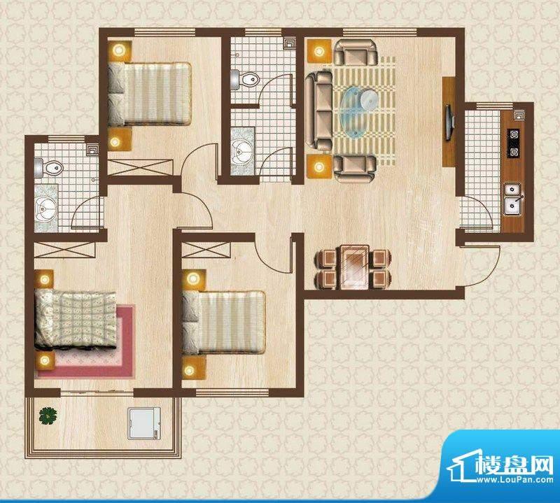 天洲沁园户型图5-01户型 3室2厅面积:115.00平米