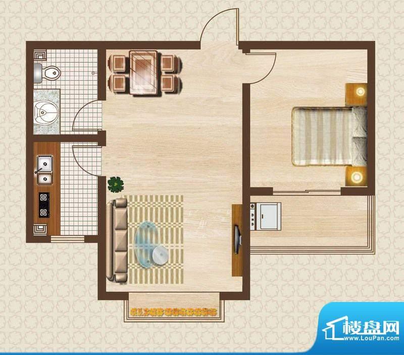 天洲沁园户型图2-08户型 1室2厅面积:63.26平米