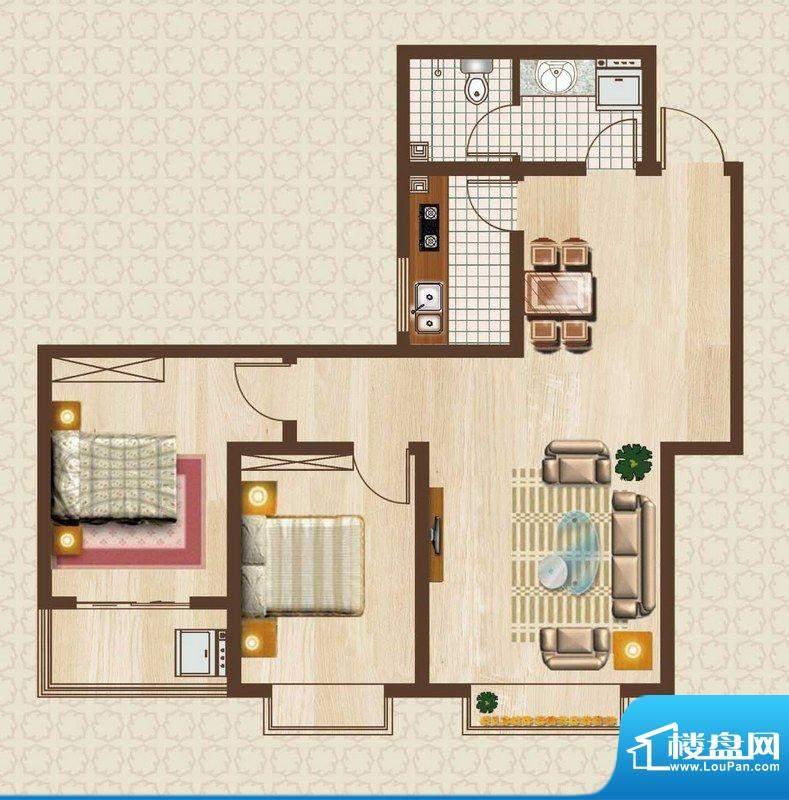 天洲沁园户型图2-07户型 2室2厅面积:82.46平米