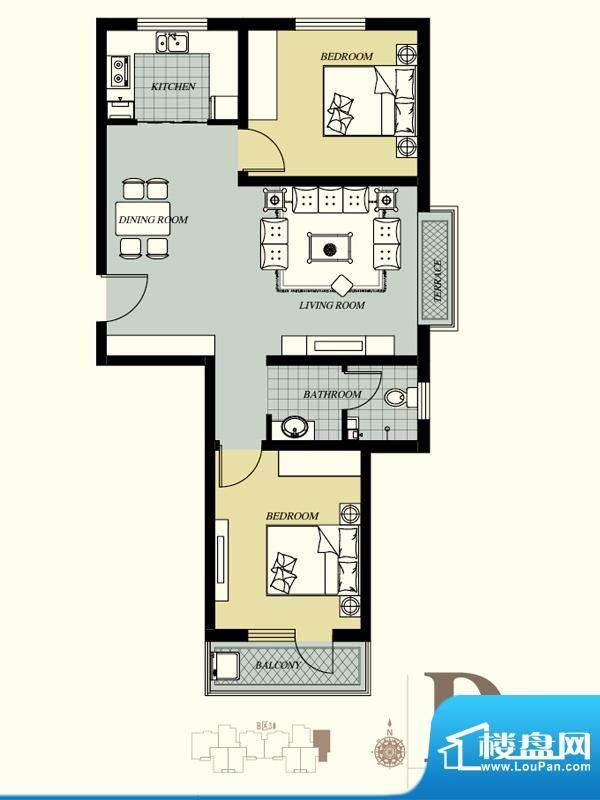 天洲视界城户型图B-3#D户型 2室面积:94.21平米
