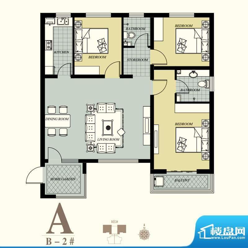 天洲视界城户型图B-2#A户型 3室面积:124.58平米