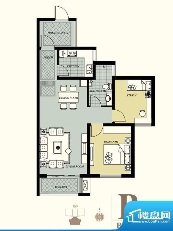 天洲视界城户型图B-2#B户型 2室面积:94.47平米