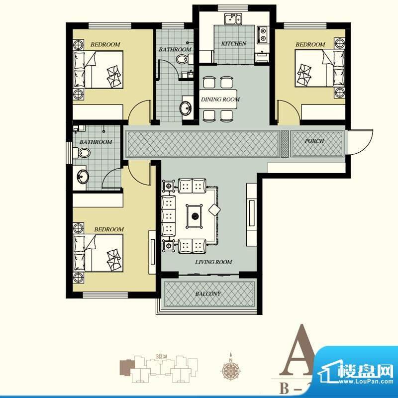 天洲视界城户型图B-3#A户型 3室面积:135.81平米