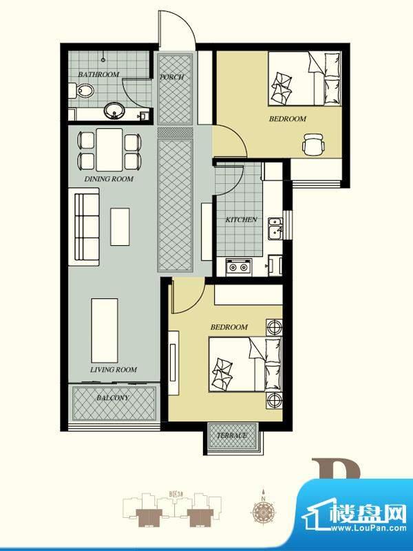天洲视界城户型图B-3#B户型 3室面积:86.81平米