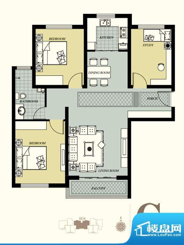天洲视界城户型图B-3#C户型 3室面积:119.62平米