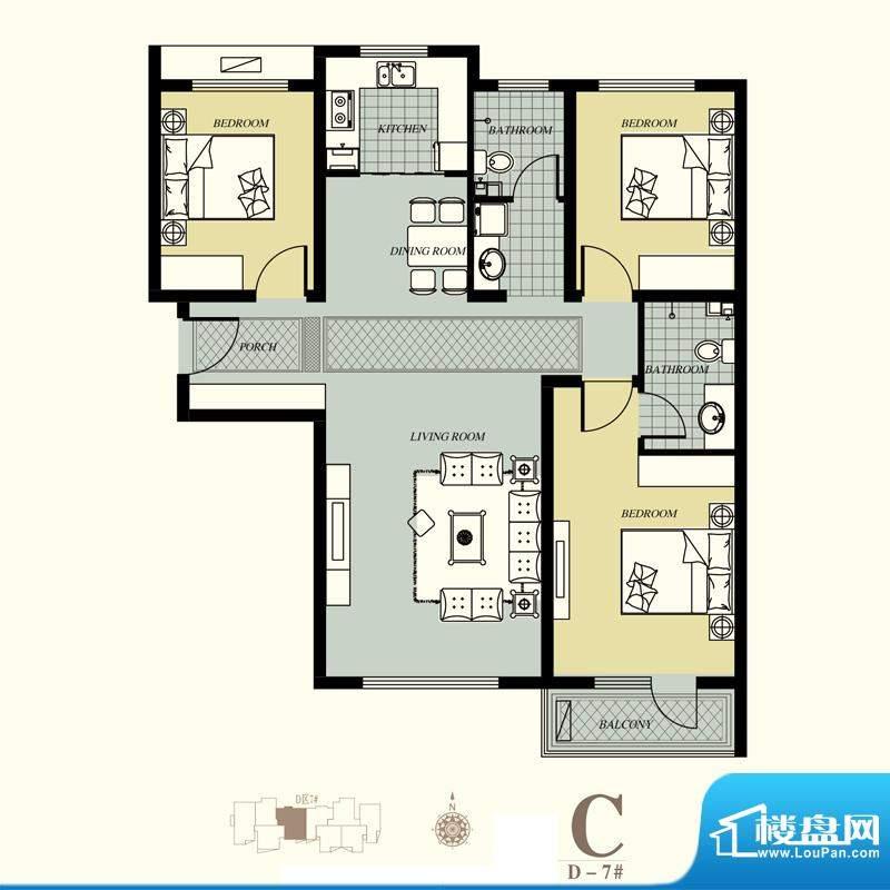 天洲视界城户型图D-7#C户型 3室面积:126.93平米