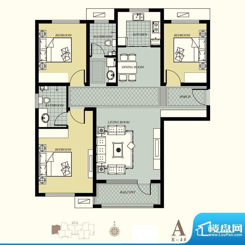 天洲视界城户型图B-4#A户型 3室面积:128.60平米
