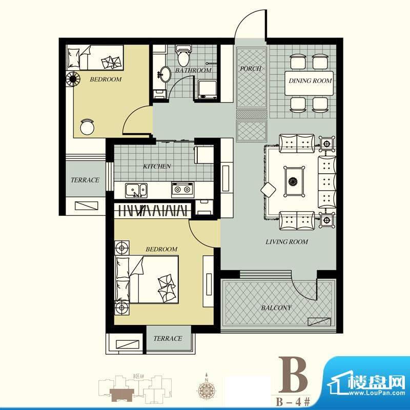 天洲视界城户型图B-4#B户型 2室面积:85.08平米