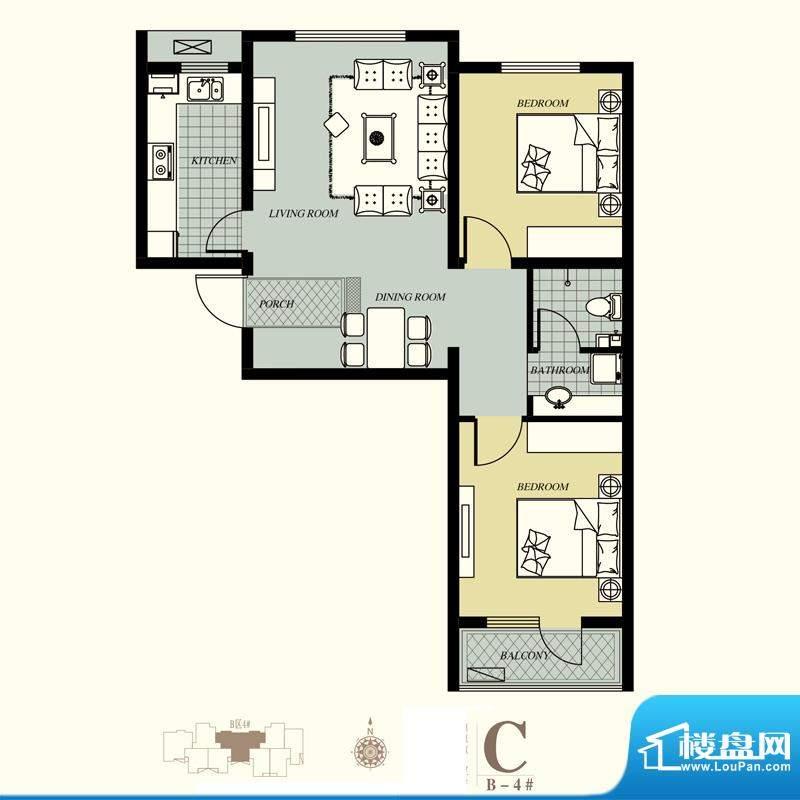 天洲视界城户型图B-4#C户型 2室面积:89.06平米