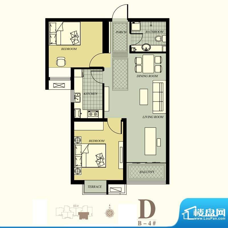 天洲视界城户型图B-4#D户型 3室面积:86.81平米