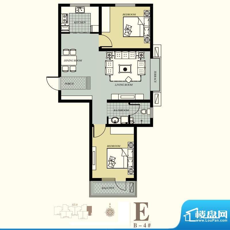 天洲视界城户型图B-4#E户型 2室面积:94.18平米