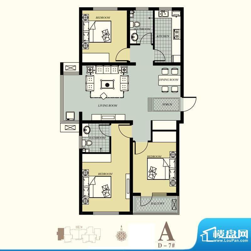 天洲视界城户型图D-7#A户型 3室面积:129.99平米