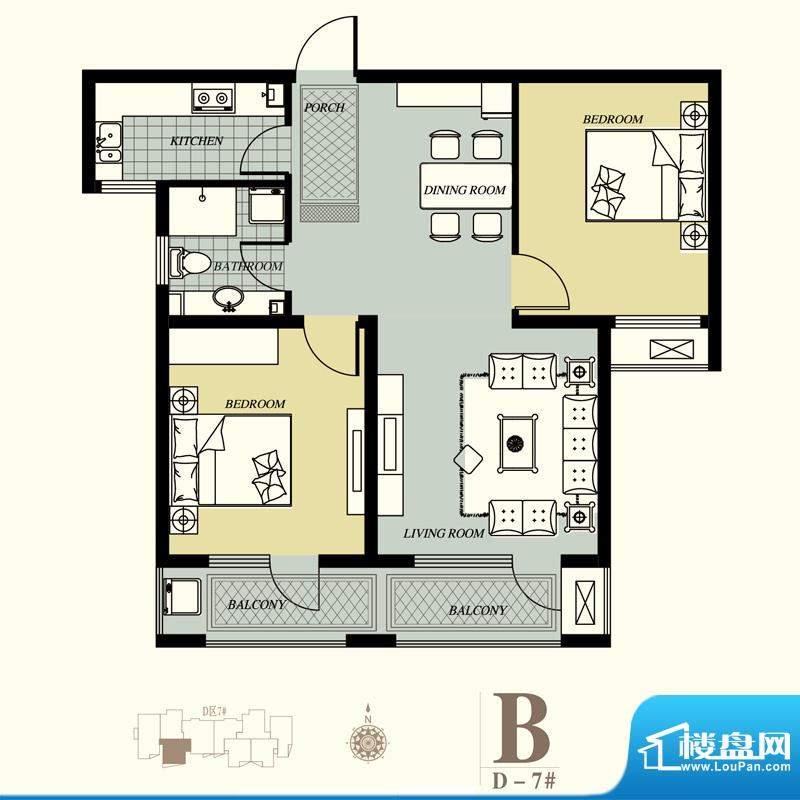 天洲视界城户型图D-7#B户型 2室面积:92.88平米
