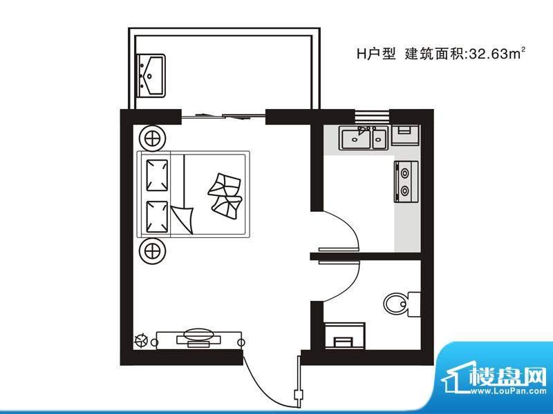 七金苑户型图H户型 1室1厅1卫1面积:32.63平米