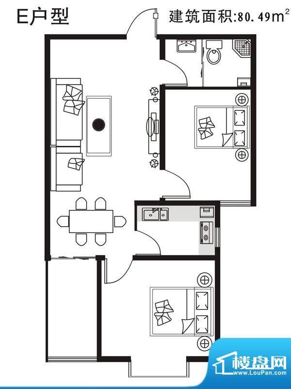 七金苑户型图E户型 2室1厅1卫1面积:80.49平米