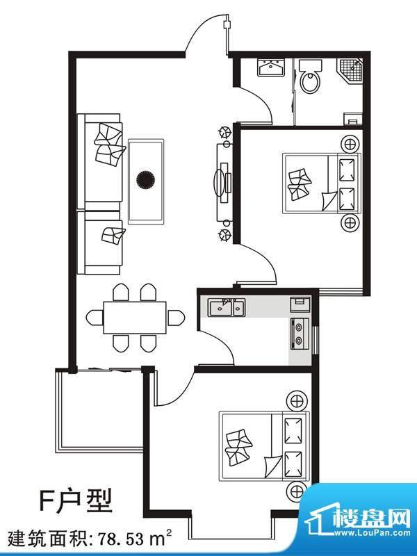 七金苑户型图F户型 2室1厅1卫1面积:78.53平米