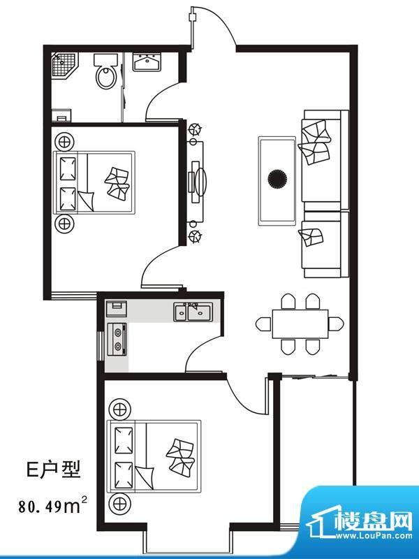 七金苑户型图E户型 03门 2室1厅面积:80.49平米
