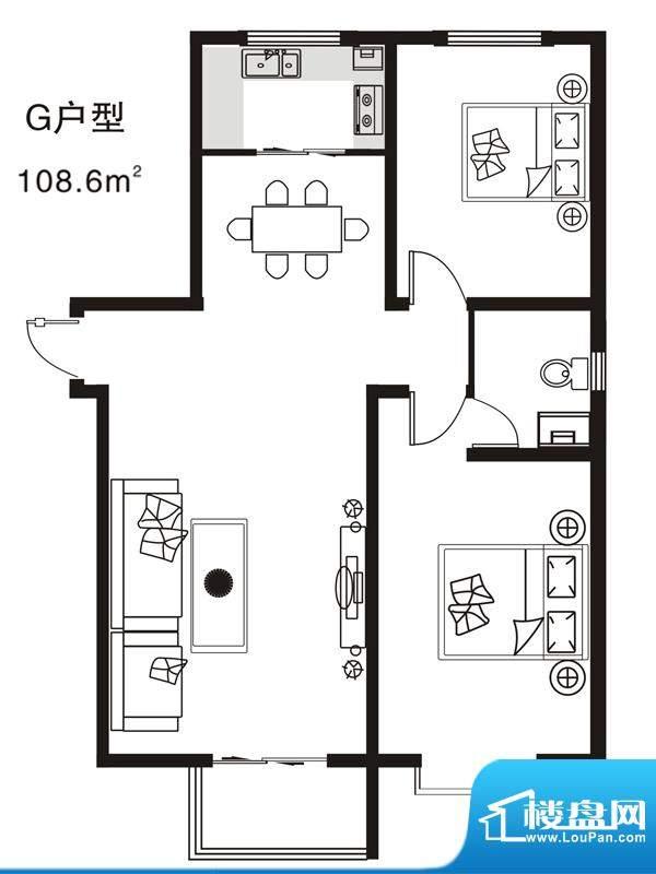 七金苑户型图G户型 2室2厅1卫1面积:108.60平米