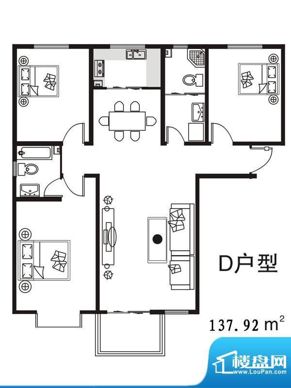 七金苑户型图D户型 3室2厅2卫1面积:137.92平米