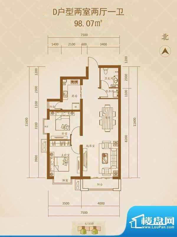星湖国际花园户型图D户型1 2室面积:98.07平米