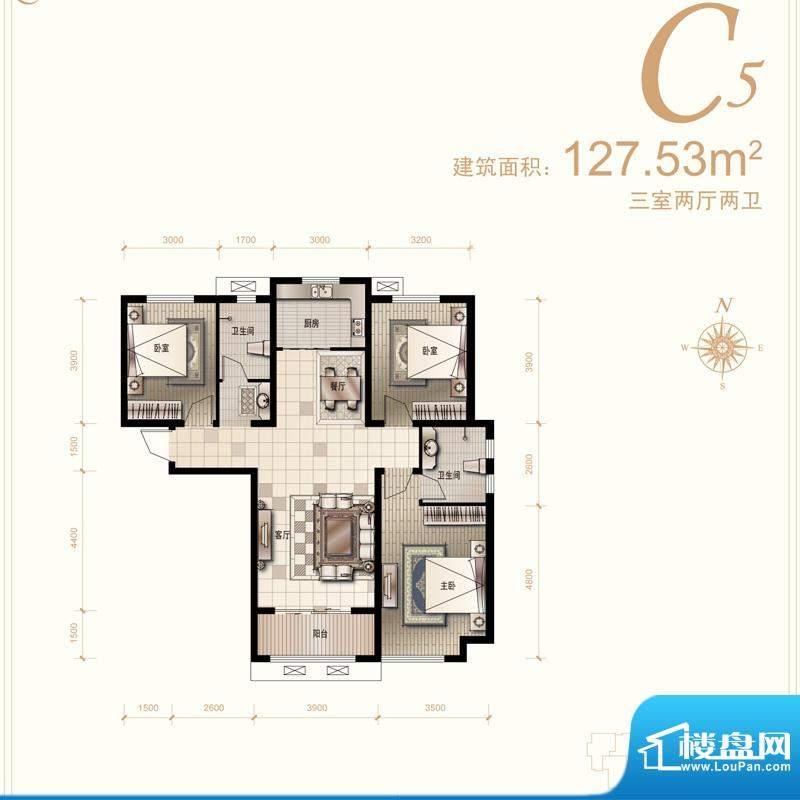 汇君城户型图C5户型 3室2厅2卫面积:127.53平米