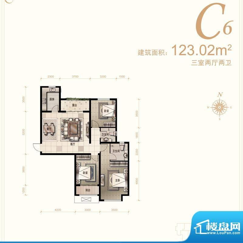 汇君城户型图C6户型 3室2厅2卫面积:123.02平米