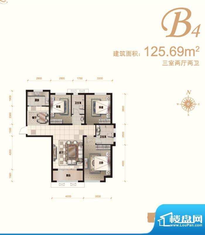 汇君城户型图B4户型 3室2厅2卫面积:125.69平米