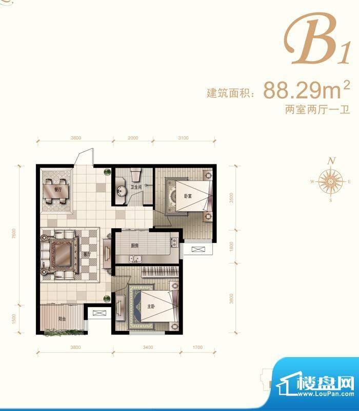 汇君城户型图B1户型 2室2厅1卫面积:88.29平米