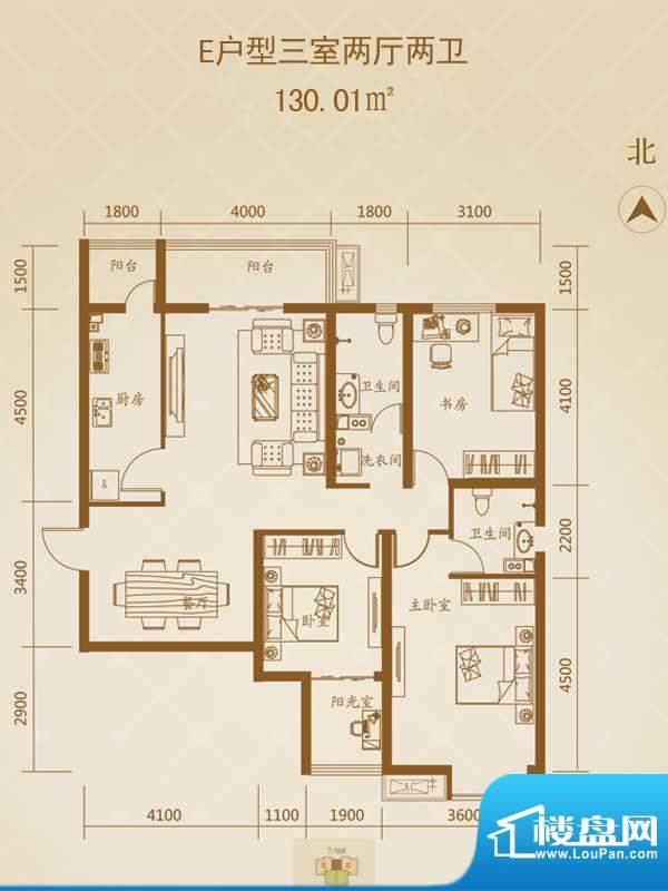 星湖国际花园户型图E户型1 3室面积:130.01平米