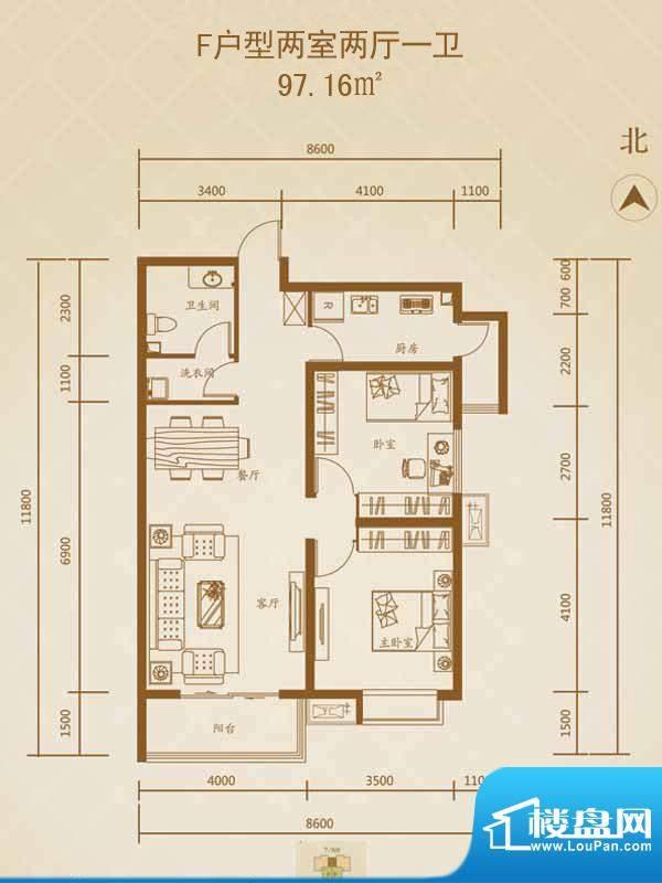 星湖国际花园户型图F户型1 2室面积:97.16平米