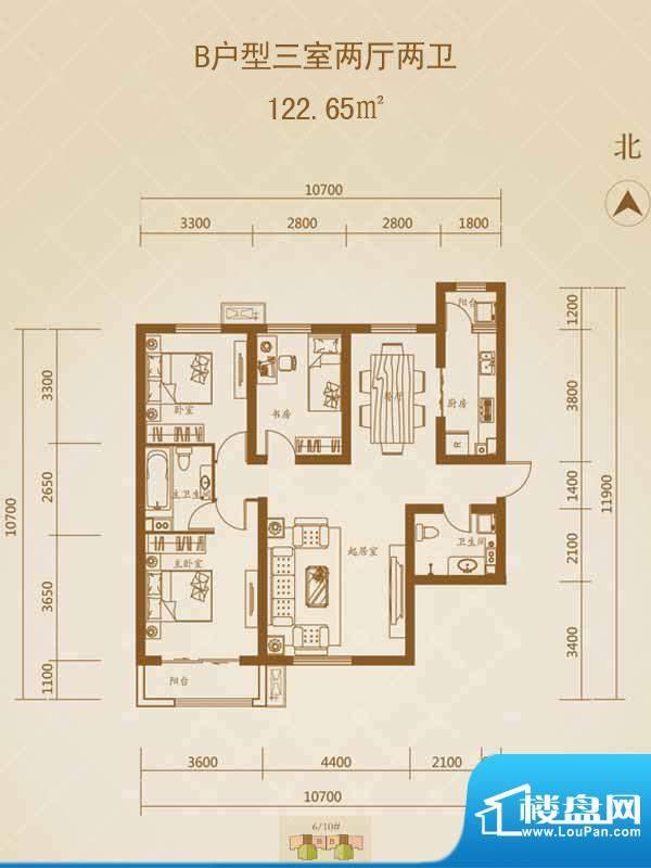 星湖国际花园户型图B户型1 3室面积:122.65平米