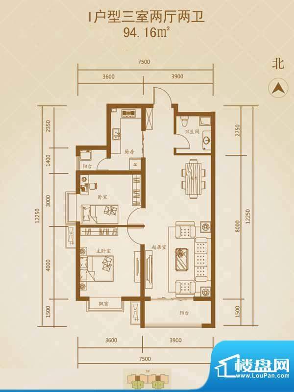 星湖国际花园户型图I户型1 3室面积:94.16平米