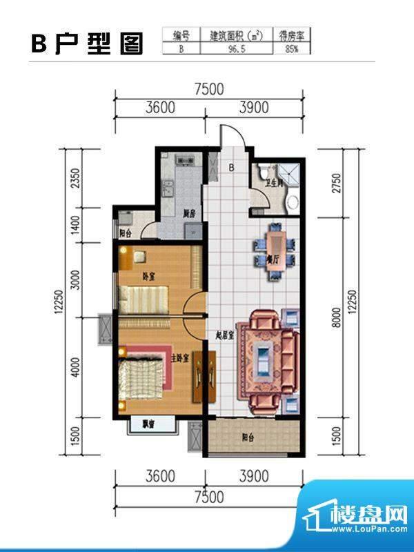 星湖国际花园户型图B户型 2室2面积:96.50平米