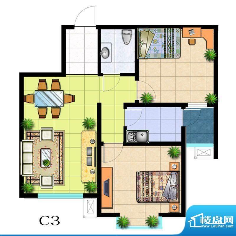 滨河悦秀户型图C3户型 2室2厅1面积:81.00平米