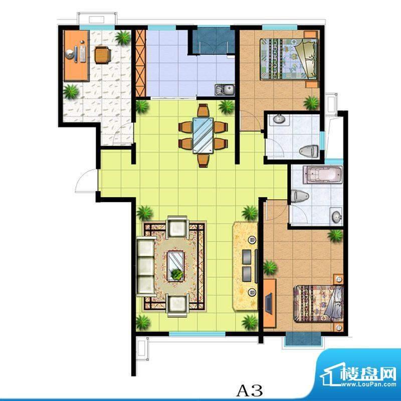 滨河悦秀户型图A3户型 3室2厅2