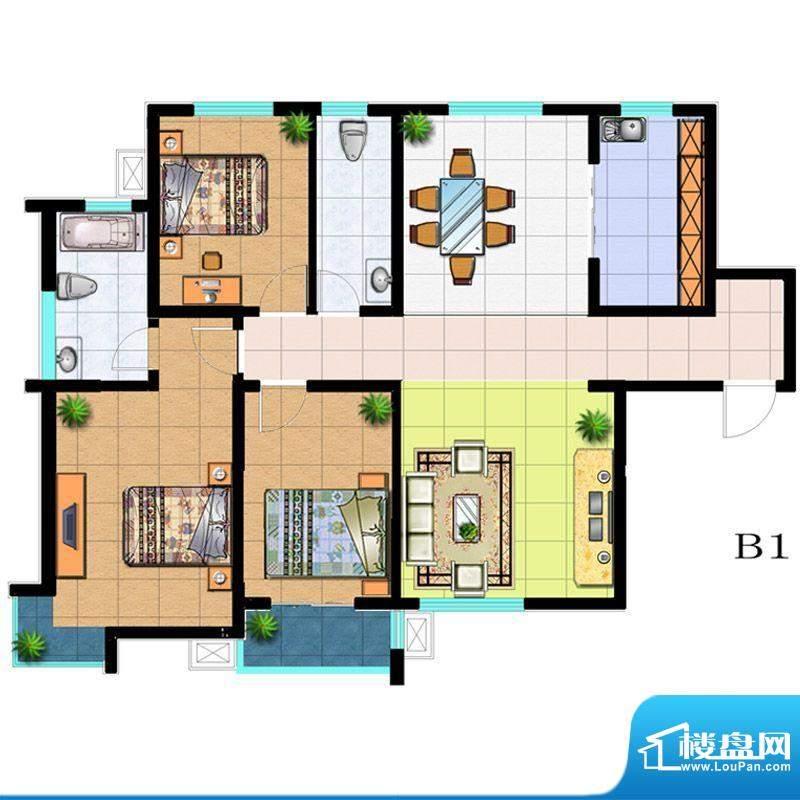滨河悦秀户型图B1户型 3室2厅2面积:142.00平米
