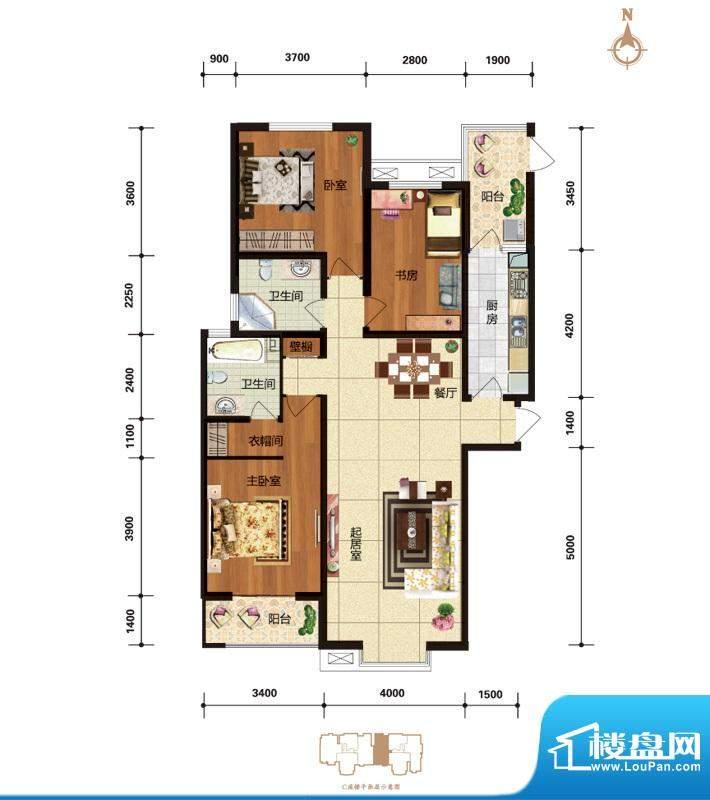华林国际户型图C3 尊逸空间 户面积:143.48平米