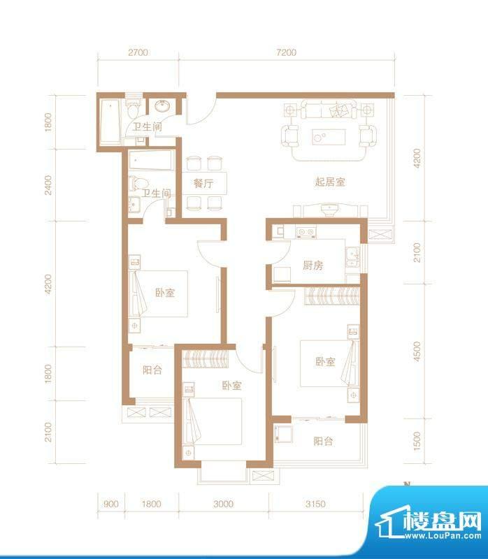 华林国际户型图A-02 户型 3室2面积:122.81平米