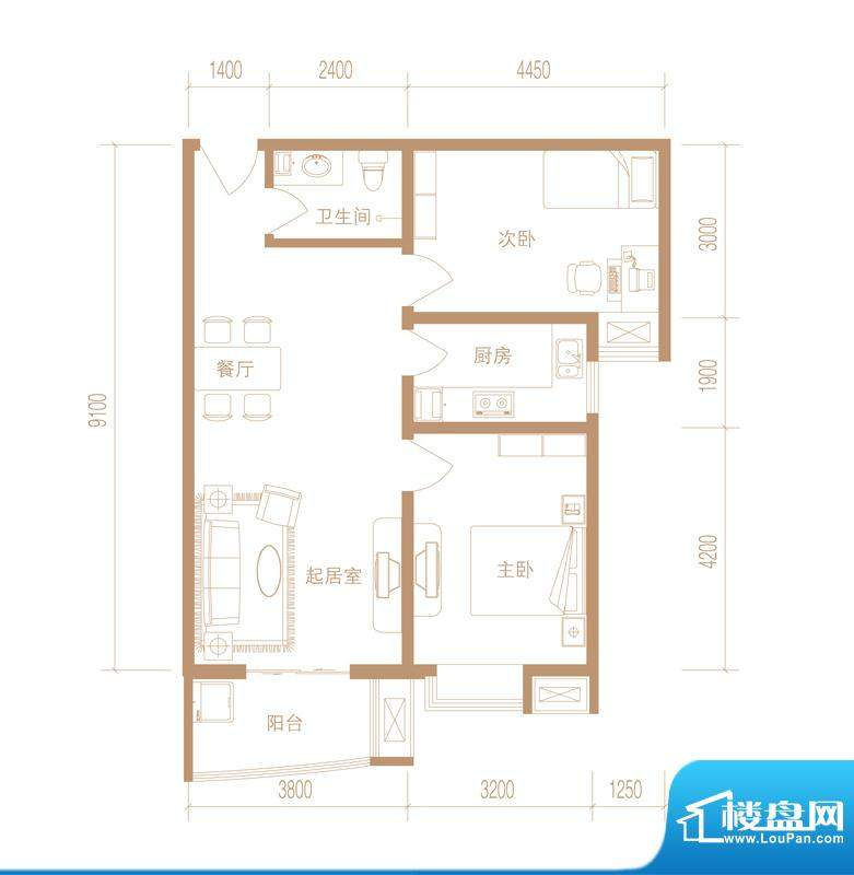 华林国际户型图D-02 户型 2室2面积:88.52平米
