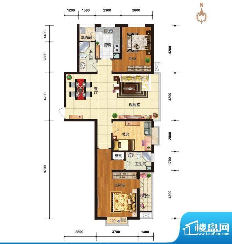 华林国际户型图C1风情雅筑户型面积:131.89平米