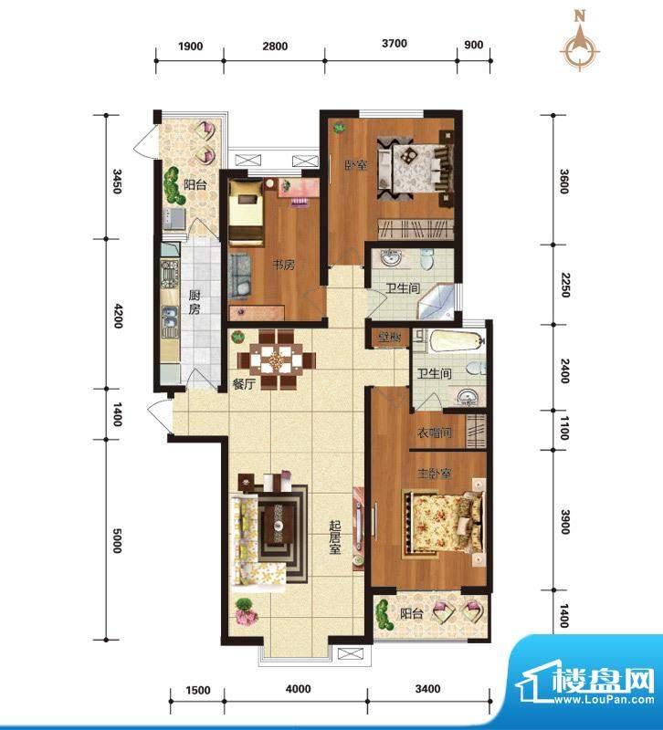 华林国际户型图C4尊逸时光户型面积:143.48平米