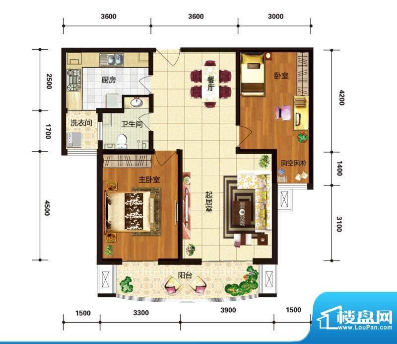 华林国际户型图C5阳光美域户型面积:108.49平米