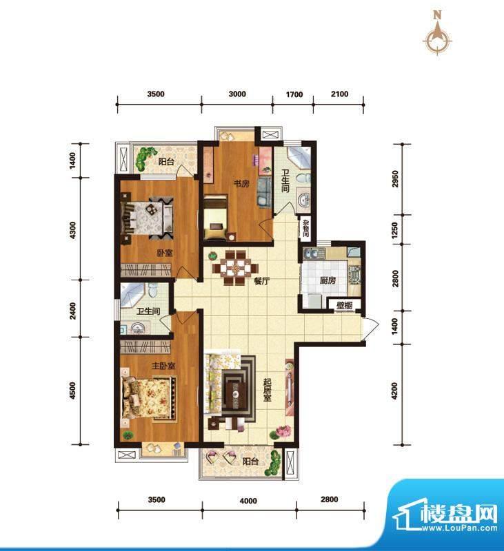 华林国际户型图C6幽香雅韵户型面积:143.52平米