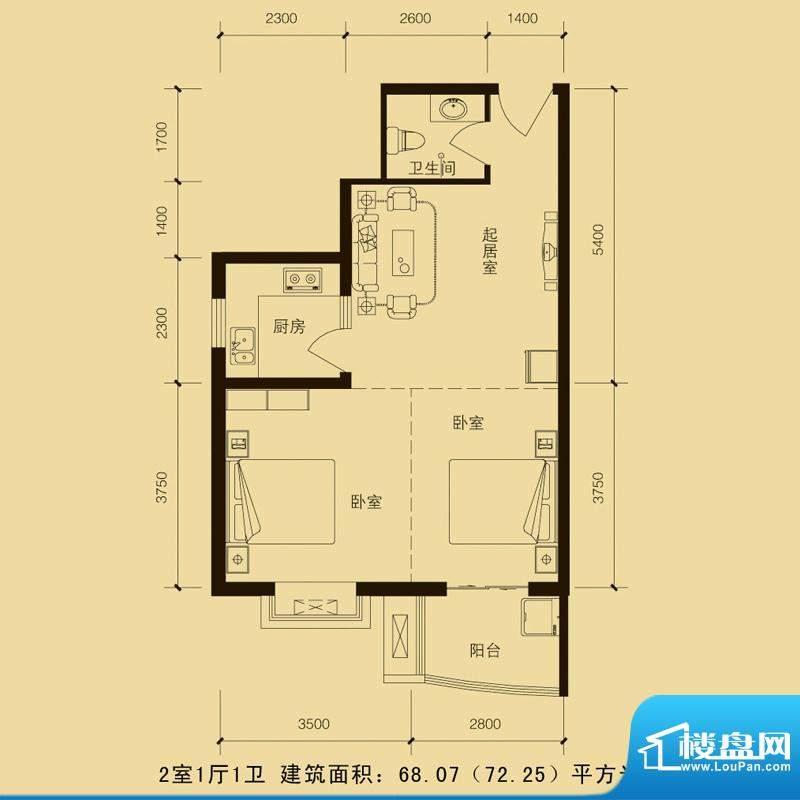 华林国际户型图2室1厅1厅68.07面积:68.07平米