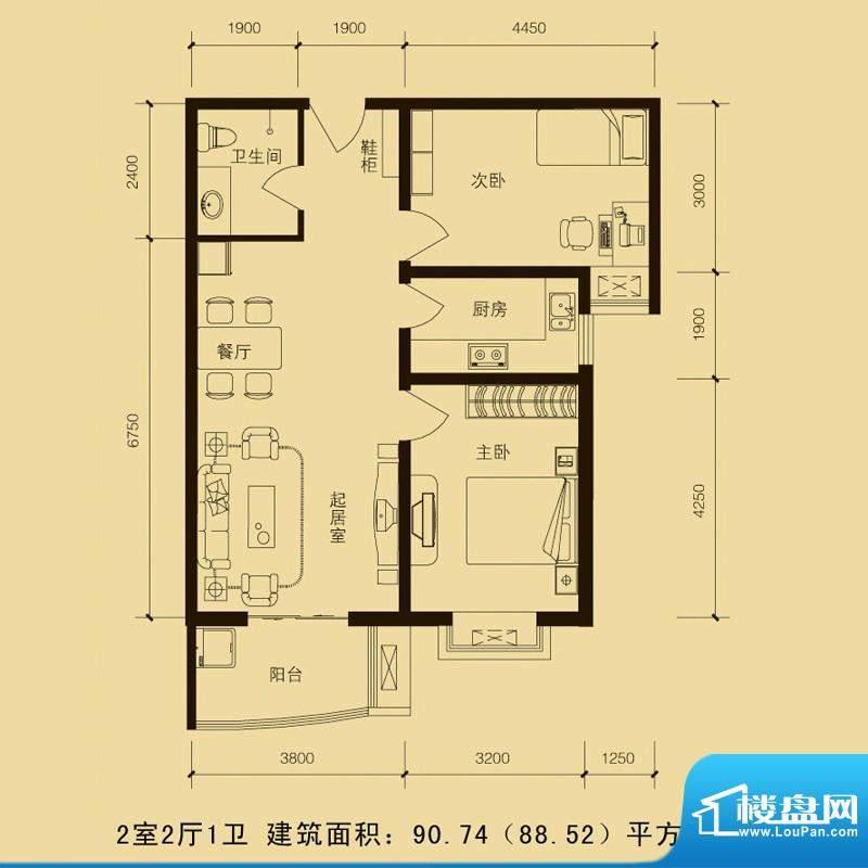 华林国际户型图2室2厅1厅90.74面积:90.74平米