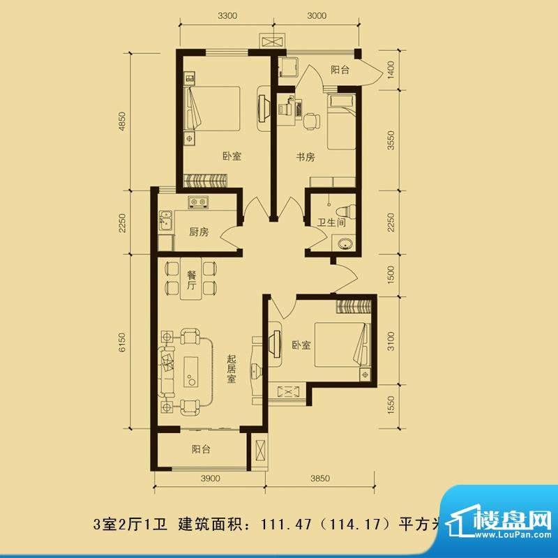 华林国际户型图3室2厅1卫111.4面积:111.47平米