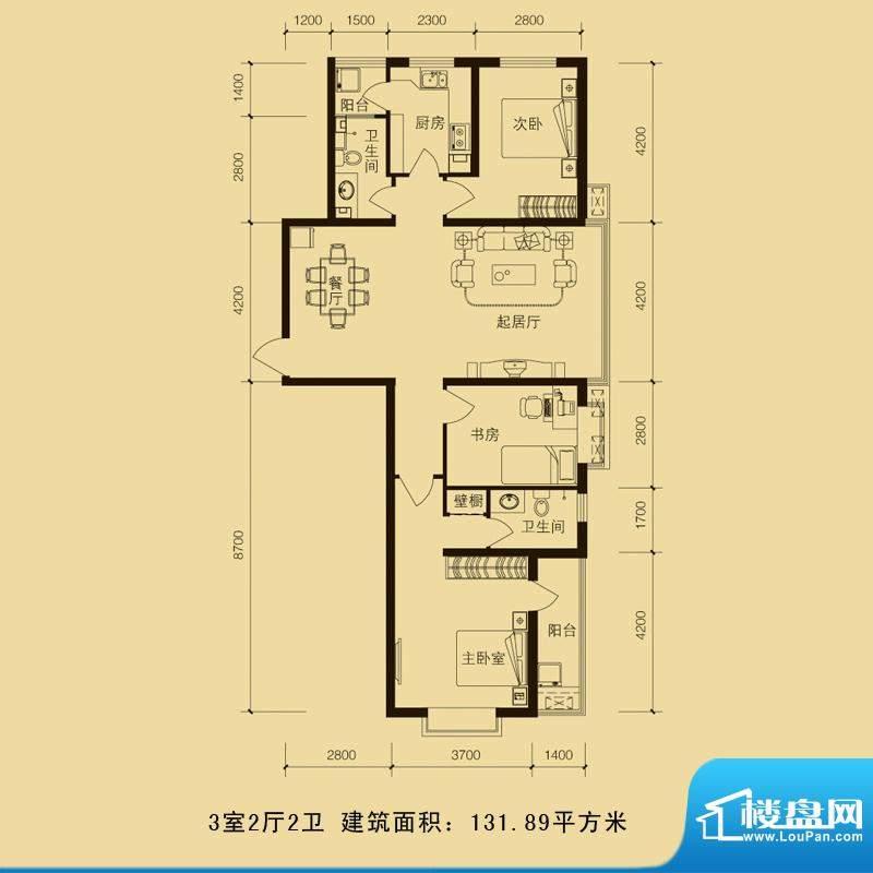 华林国际户型图3室2厅2卫131.8面积:131.89平米