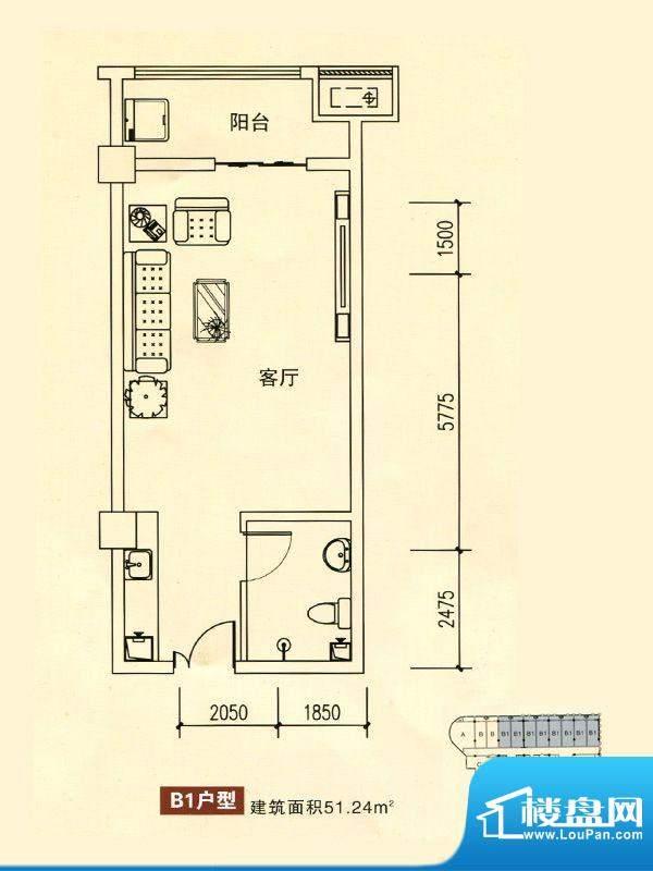 华银国际户型图B1户型1室1厅面积:51.24平米
