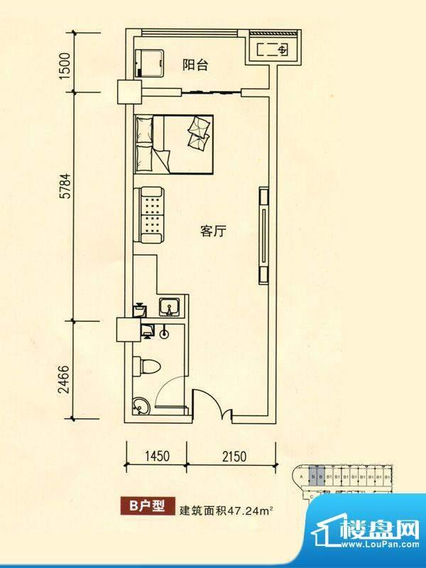 华银国际户型图B户型 1室1厅1卫面积:47.24平米