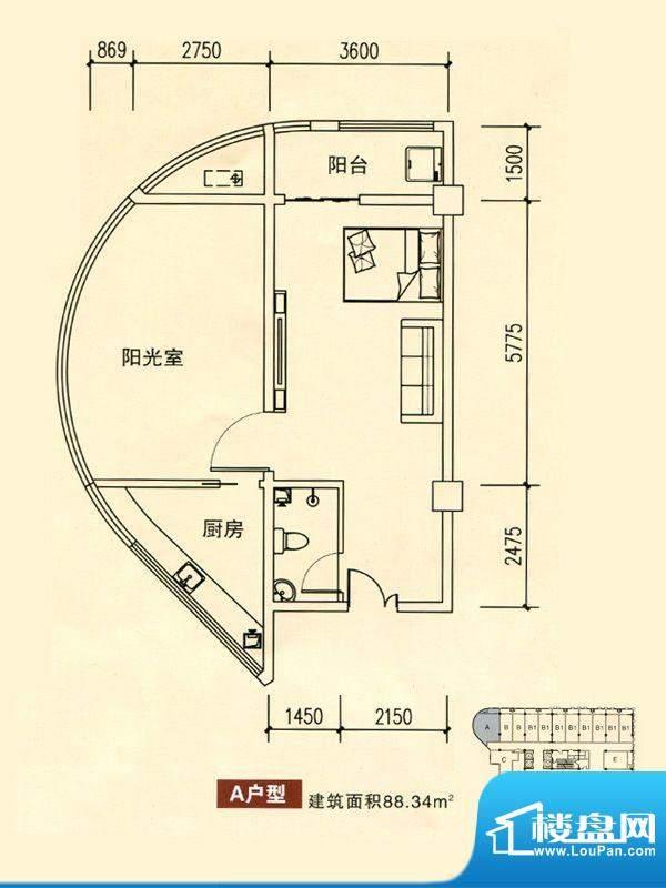 华银国际户型图A户型 1室1厅1卫面积:88.34平米